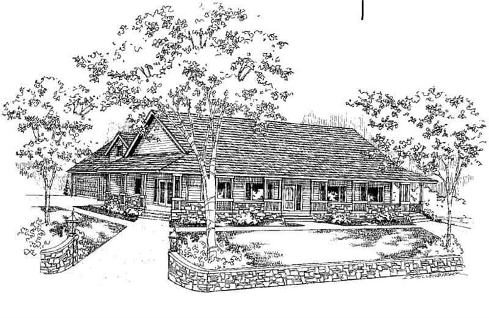 Front elevation of Ranch home (ThePlanCollection: House Plan #145-1276)