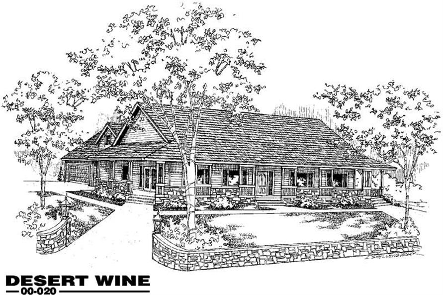 3-Bedroom, 2048 Sq Ft Country House Plan - 145-1276 - Front Exterior