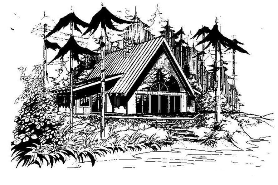 3-Bedroom, 2017 Sq Ft Log Cabin House Plan - 145-1278 - Front Exterior