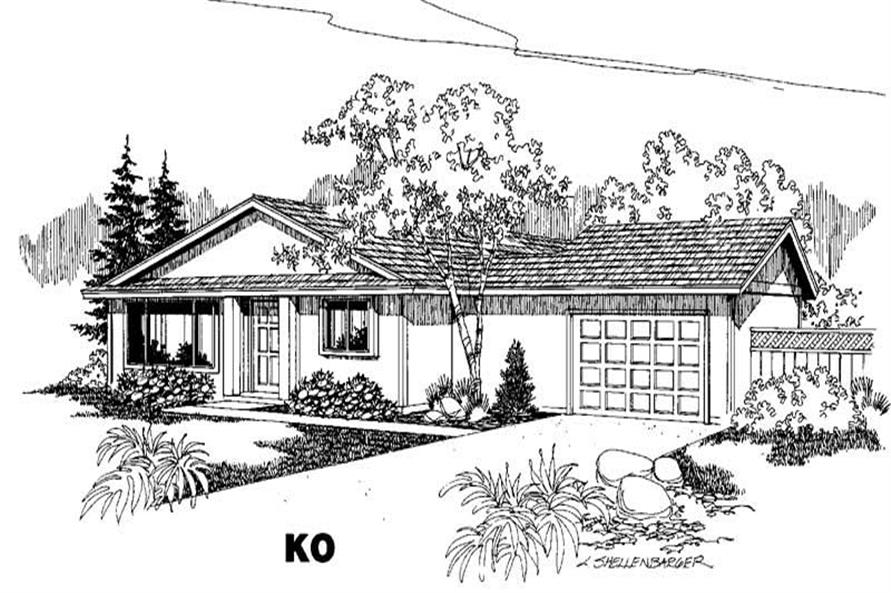 3-Bedroom, 1052 Sq Ft Small House Plans - 145-1285 - Main Exterior