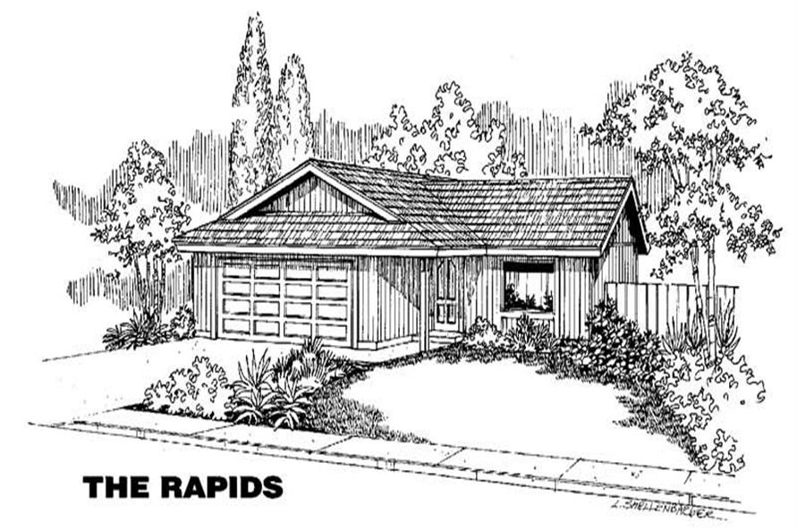 3-Bedroom, 1070 Sq Ft Small House Plans - 145-1308 - Main Exterior