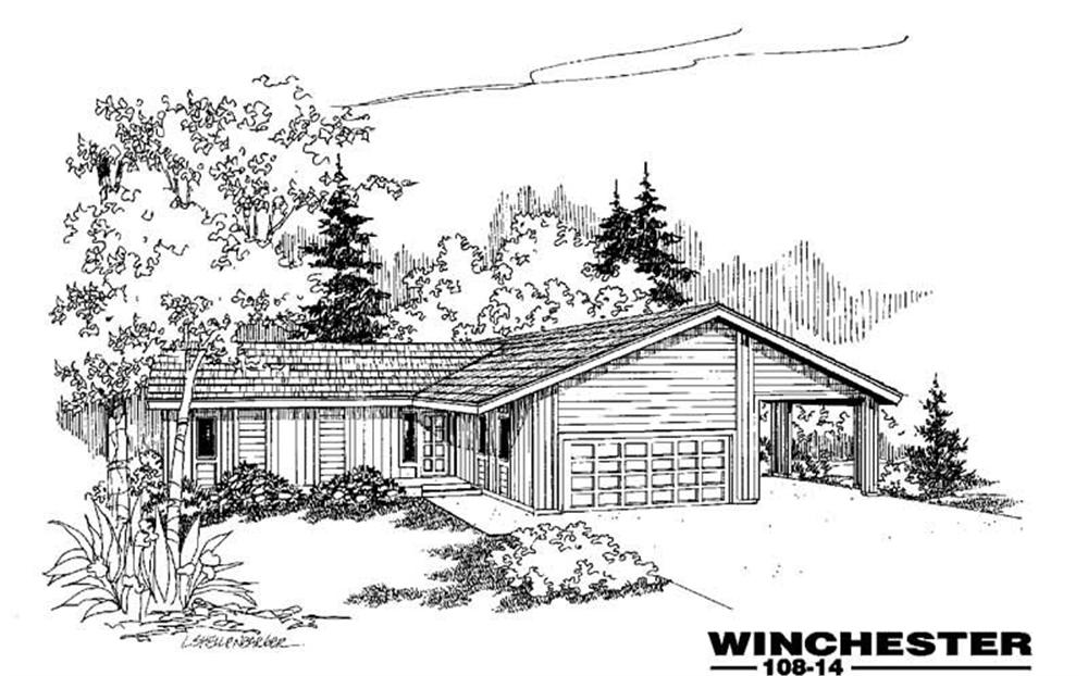 Front elevation of Ranch home (ThePlanCollection: House Plan #145-1314)