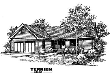 2-Bedroom, 1616 Sq Ft Ranch House Plan - 145-1320 - Front Exterior