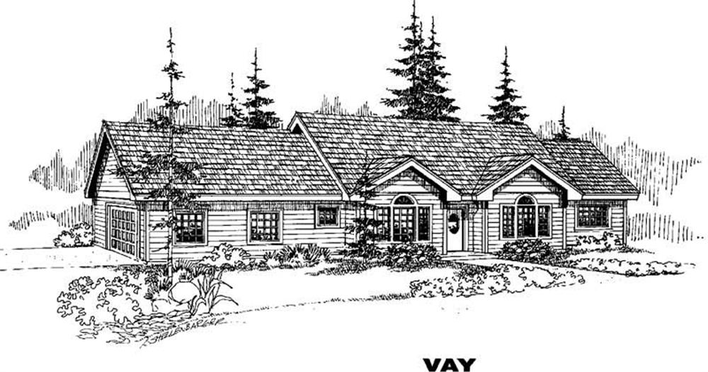 Ranch home (ThePlanCollection: Plan #145-1327)