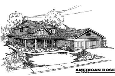 4-Bedroom, 2492 Sq Ft Country House Plan - 145-1329 - Front Exterior