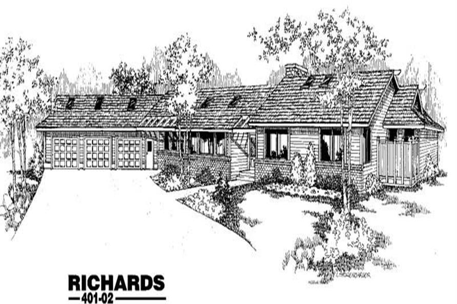 4-Bedroom, 2679 Sq Ft Ranch House Plan - 145-1331 - Front Exterior
