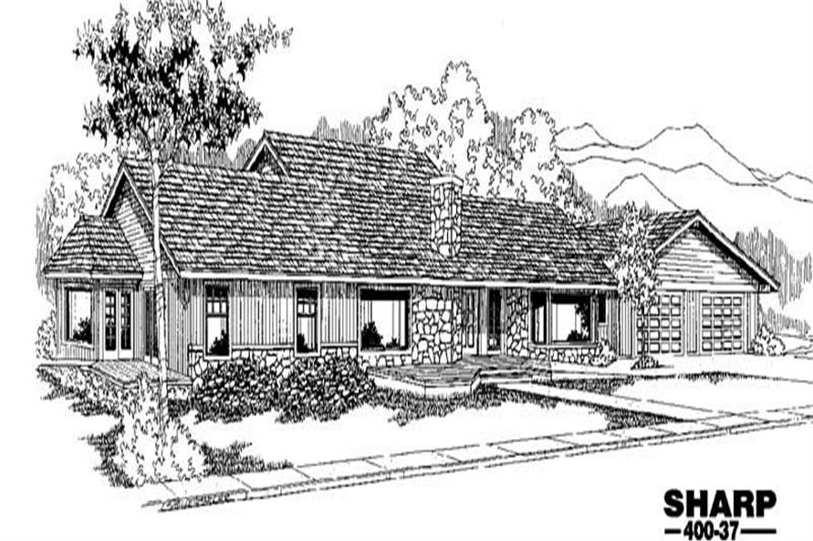 4-Bedroom, 3312 Sq Ft Ranch House Plan - 145-1343 - Front Exterior