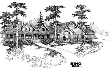 3-Bedroom, 3479 Sq Ft Country Home Plan - 145-1348 - Main Exterior