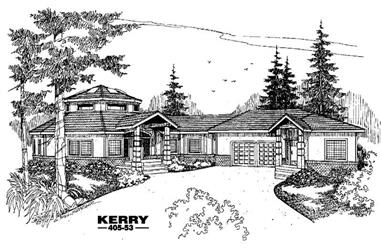 6-Bedroom, 4833 Sq Ft Ranch House Plan - 145-1354 - Front Exterior