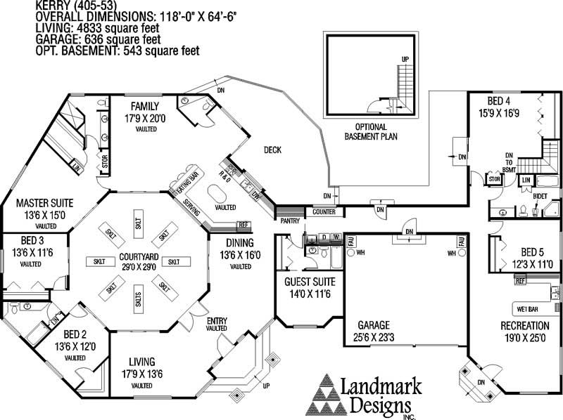 Large ranch house plans inspiration house plans 64580 for Large ranch floor plans