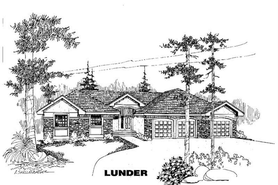 3-Bedroom, 2312 Sq Ft Home Plan - 145-1356 - Main Exterior
