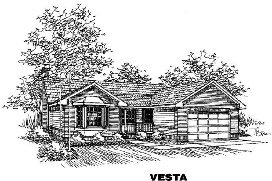 3-Bedroom, 1796 Sq Ft Country Home Plan - 145-1366 - Main Exterior