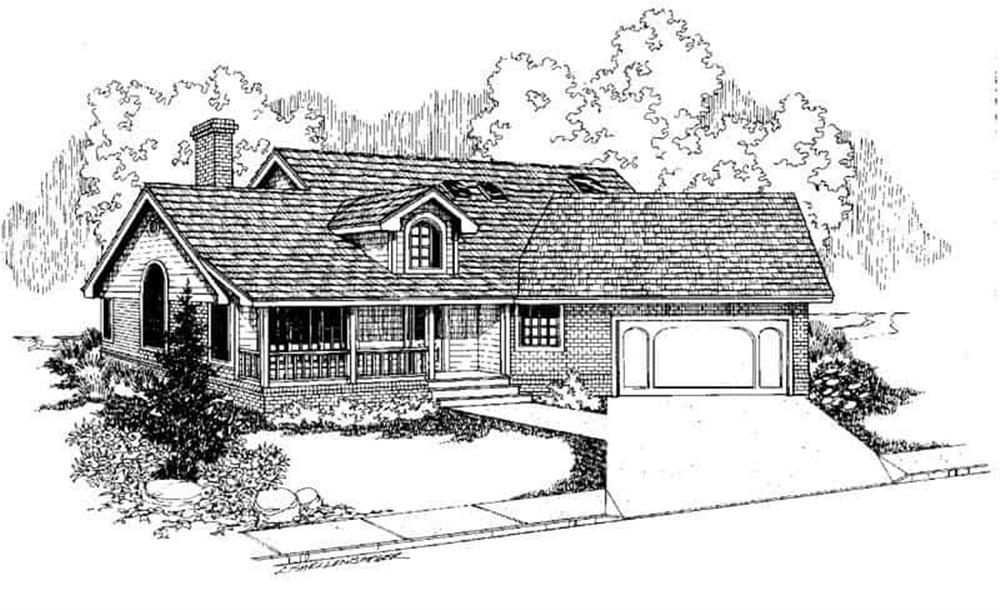 Front elevation of Country home (ThePlanCollection: House Plan #145-1371)