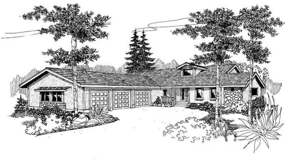 Front elevation of Contemporary home (ThePlanCollection: House Plan #145-1376)