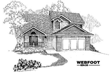 4-Bedroom, 2098 Sq Ft Home Plan - 145-1382 - Main Exterior