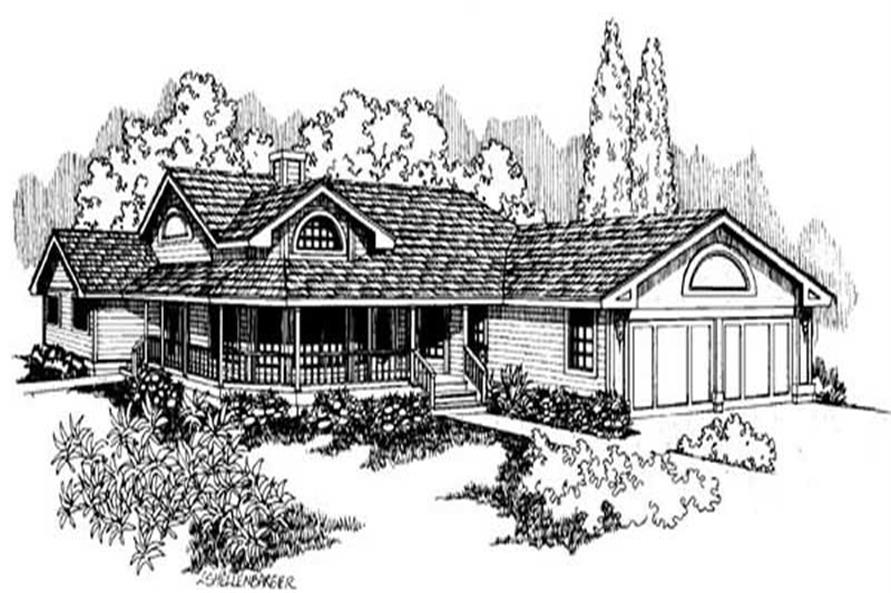 3-Bedroom, 2928 Sq Ft House Plan - 145-1384 - Front Exterior