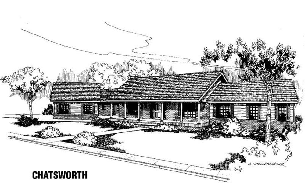Ranch home (ThePlanCollection: Plan #145-1386)
