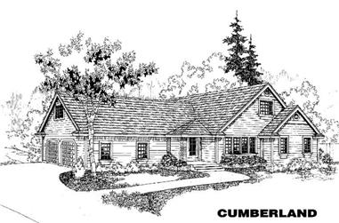 3-Bedroom, 2040 Sq Ft House Plan - 145-1387 - Front Exterior