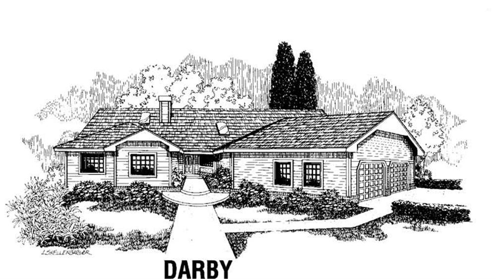 Ranch home (ThePlanCollection: Plan #145-1392)