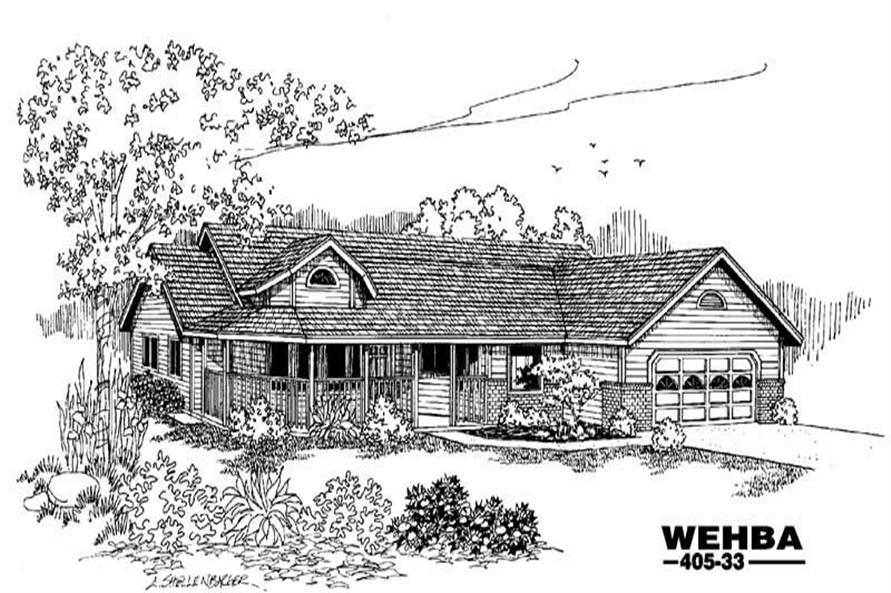4-Bedroom, 1897 Sq Ft Home Plan - 145-1394 - Main Exterior