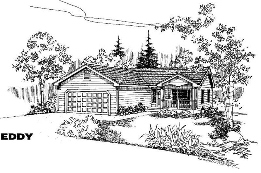 3-Bedroom, 1292 Sq Ft Country Home Plan - 145-1398 - Main Exterior
