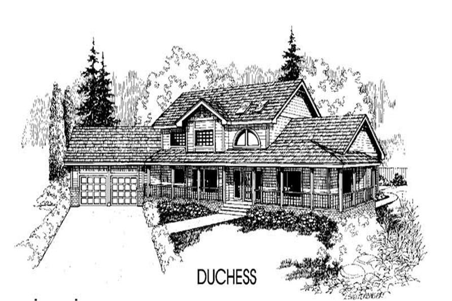 4-Bedroom, 2987 Sq Ft Country House Plan - 145-1399 - Front Exterior