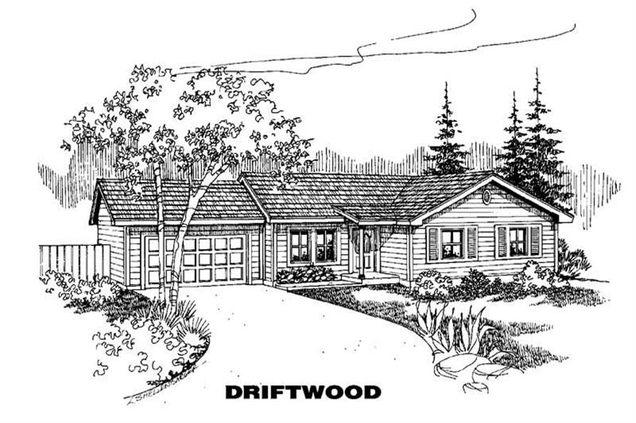 3-Bedroom, 1033 Sq Ft Ranch Home Plan - 145-1405 - Main Exterior