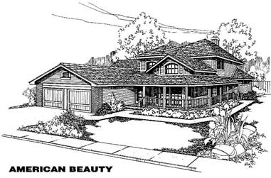 4-Bedroom, 2572 Sq Ft Country Home Plan - 145-1406 - Main Exterior