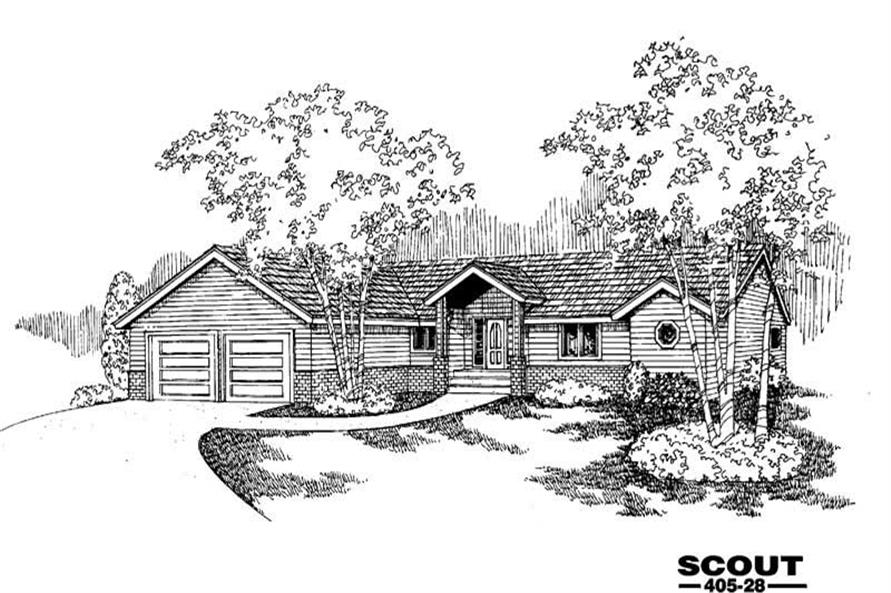 4-Bedroom, 1656 Sq Ft Country House Plan - 145-1414 - Front Exterior