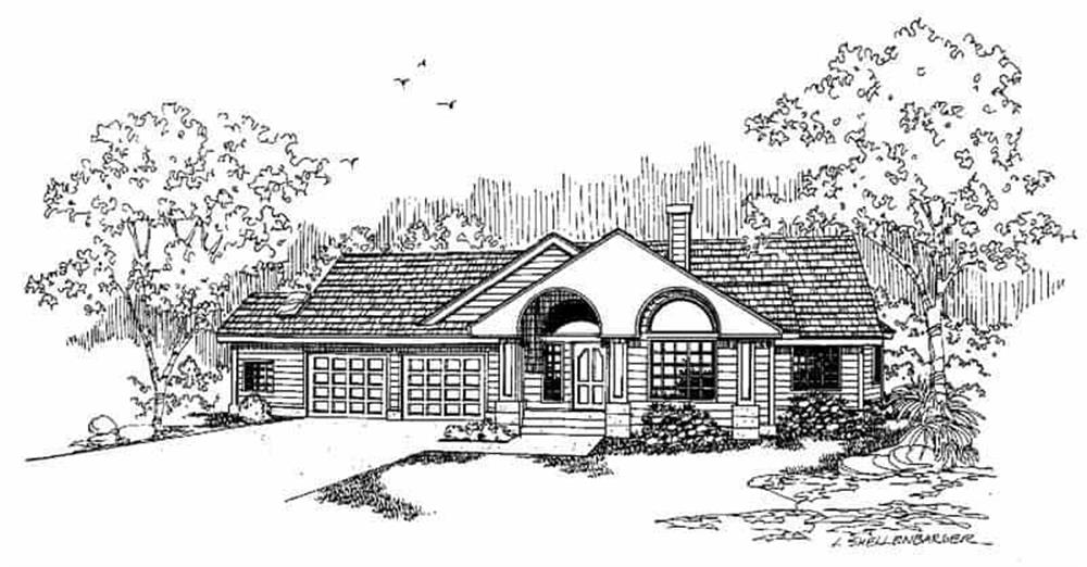 Front elevation of Ranch home (ThePlanCollection: House Plan #145-1421)