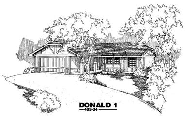 3-Bedroom, 1358 Sq Ft Contemporary Home Plan - 145-1422 - Main Exterior