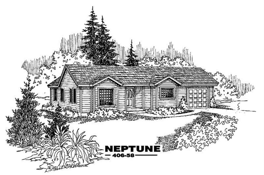 3-Bedroom, 1157 Sq Ft Contemporary Home Plan - 145-1450 - Main Exterior