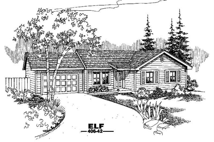 3-Bedroom, 1113 Sq Ft Country Home Plan - 145-1452 - Main Exterior