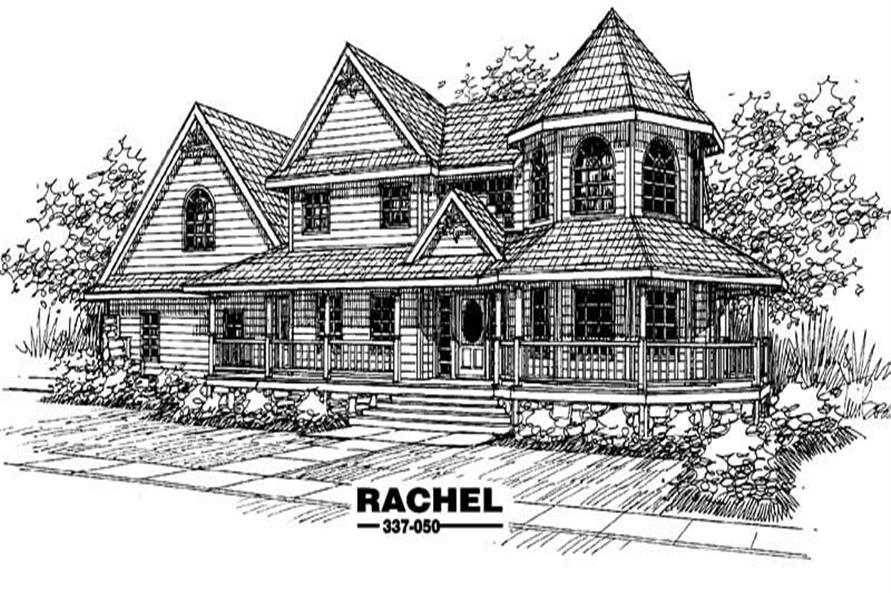 4-Bedroom, 3419 Sq Ft Country House Plan - 145-1454 - Front Exterior