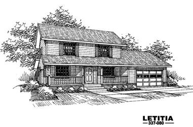 3-Bedroom, 2068 Sq Ft Country House Plan - 145-1459 - Front Exterior
