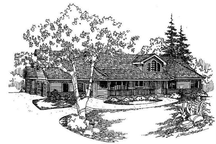Front elevation of Country home (ThePlanCollection: House Plan #145-1462)