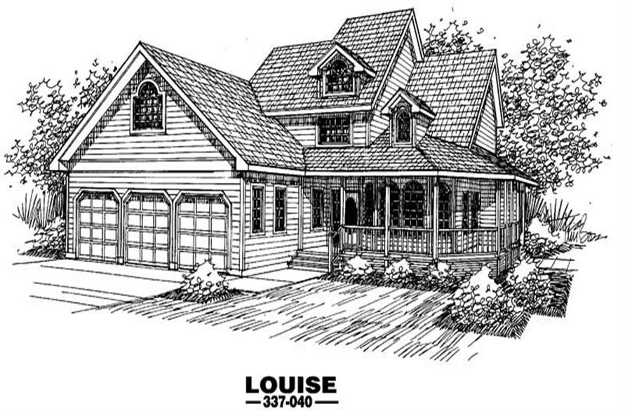 4-Bedroom, 1992 Sq Ft Country House Plan - 145-1464 - Front Exterior