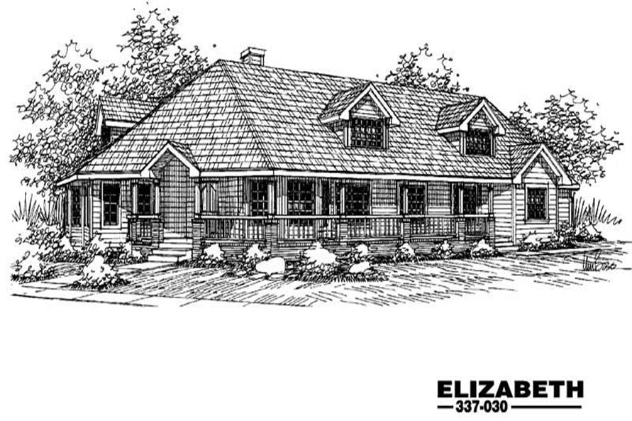 4-Bedroom, 2706 Sq Ft Country House Plan - 145-1465 - Front Exterior