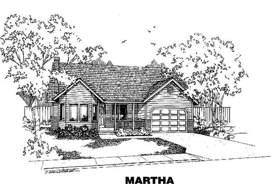 3-Bedroom, 1605 Sq Ft Country House Plan - 145-1474 - Front Exterior