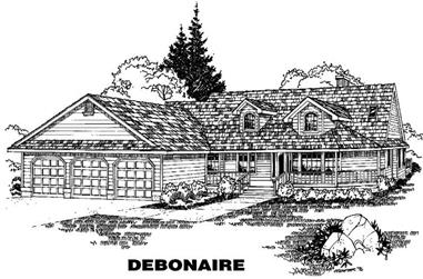 3-Bedroom, 2562 Sq Ft Ranch House Plan - 145-1477 - Front Exterior
