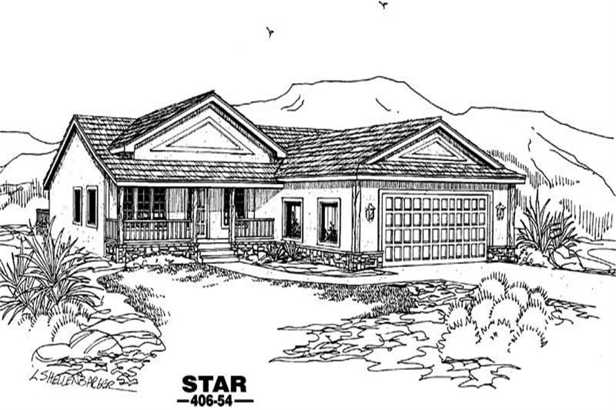 3-Bedroom, 1460 Sq Ft Contemporary Home Plan - 145-1482 - Main Exterior