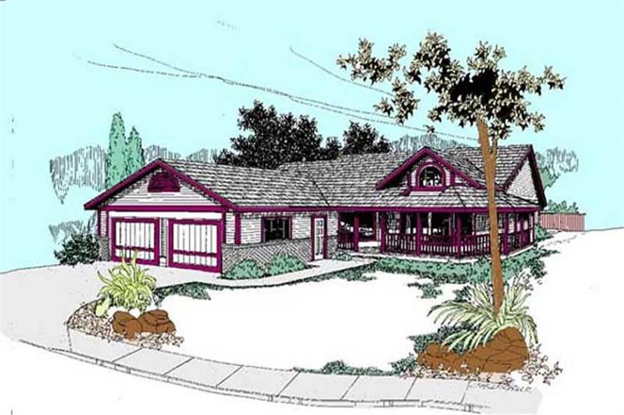 3-Bedroom, 1626 Sq Ft Country Home Plan - 145-1493 - Main Exterior