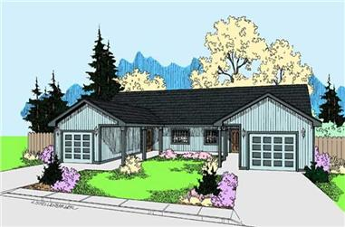 4-Bedroom, 1968 Sq Ft Multi-Unit House Plan - 145-1496 - Front Exterior