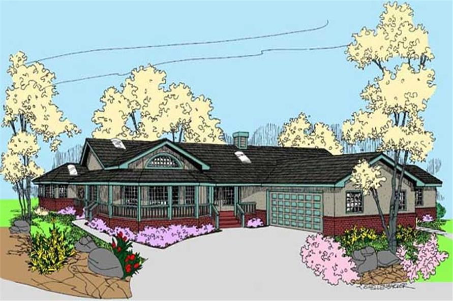 4-Bedroom, 3036 Sq Ft Country House Plan - 145-1497 - Front Exterior