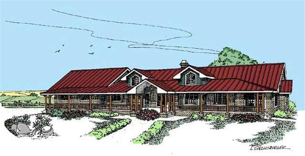 Front elevation of Ranch home (ThePlanCollection: House Plan #145-1498)