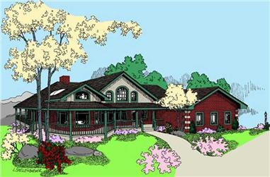 2-Bedroom, 2342 Sq Ft Country House Plan - 145-1501 - Front Exterior