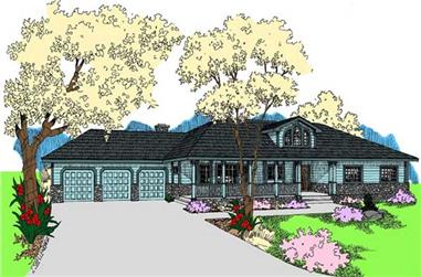 3-Bedroom, 3162 Sq Ft Country House Plan - 145-1502 - Front Exterior