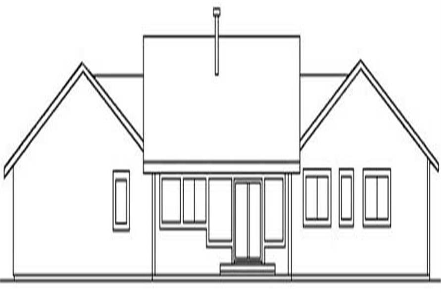 Home Plan Rear Elevation of this 3-Bedroom,1620 Sq Ft Plan -145-1510