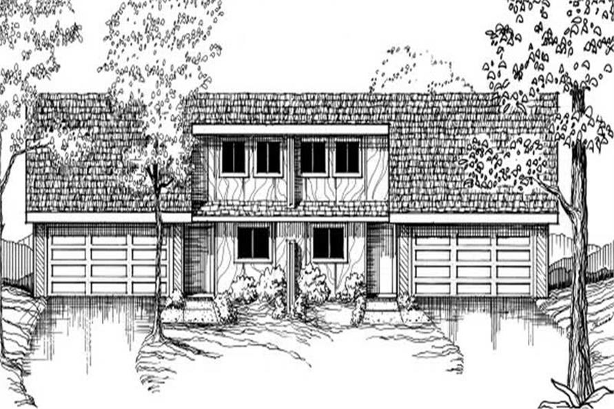 2-Bedroom, 2644 Sq Ft Multi-Unit Home Plan - 145-1513 - Main Exterior