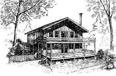 2-Bedroom, 1848 Sq Ft Log Cabin House Plan - 145-1522 - Front Exterior